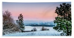 Snow Covered Valley Beach Towel