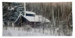 Snow Covered Vermont Sugar Shack.  Beach Towel