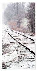 Snow Covered Wisconsin Railroad Tracks Beach Towel