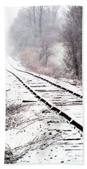 Snow Covered Wisconsin Railroad Tracks Beach Sheet