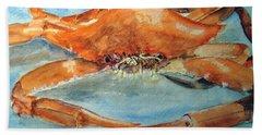 Snow Crab Is Ready Beach Sheet by Carol Grimes