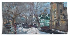 Snow Day At 7th St By Potters House Church Beach Towel