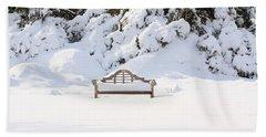 Snow Dwarfed Bench Beach Towel