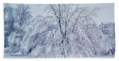Snow Encrusted Tree Beach Towel