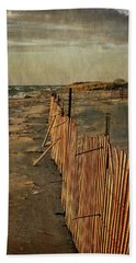 Beach Towel featuring the photograph Snow Fence And Lake Michigan by Michelle Calkins