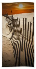 Snow Fence At Sunset Beach Towel