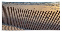 Beach Towel featuring the photograph Snow Fence On Lake Michigan by Michelle Calkins
