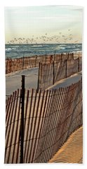 Beach Towel featuring the photograph Snow Fences 3.0 by Michelle Calkins