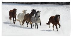 Snow Gallop Beach Towel