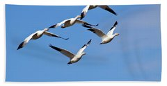Snow Geese Flormation Beach Towel