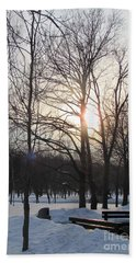 Snow In March Beach Towel