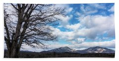Snow In The High Mountains Beach Towel