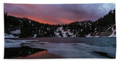 Snow Lake Icy Sunrise Fire Beach Sheet by Mike Reid