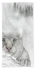 Beach Towel featuring the digital art Snow Leopard by Darren Cannell