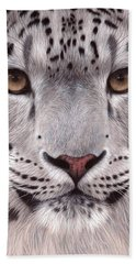 Snow Leopard Face Beach Towel