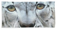 Beach Sheet featuring the painting Snow Leopard by Mike Brown