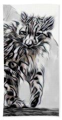 Beach Towel featuring the digital art Snow Leopard by Pennie McCracken