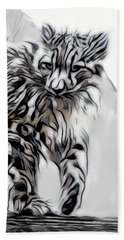 Beach Sheet featuring the digital art Snow Leopard by Pennie McCracken