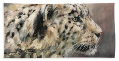 Beach Towel featuring the painting Snow Leopard Study by David Stribbling