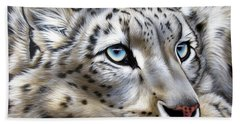 Snow-leopard's Dream Beach Sheet by Sandi Baker