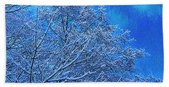 Beach Towel featuring the photograph Snow On Branches Photo Art by Sharon Talson