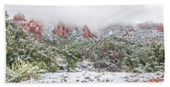 Snow On Red Rock Beach Towel