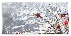 Beach Towel featuring the digital art Snow On The Maple by Shelli Fitzpatrick