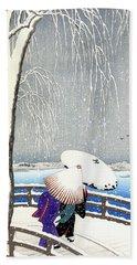 Snow On Willow Bridge By Koson Beach Towel