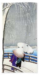 Snow On Willow Bridge By Koson Beach Sheet