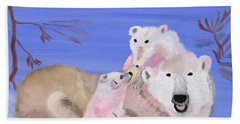 Beach Towel featuring the painting Frosty Polar Love by Meryl Goudey