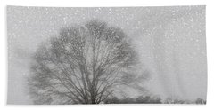Snow Storm Tree Beach Towel