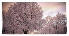 Snow Tree At Dusk Beach Sheet