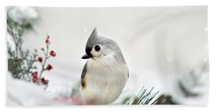 Beach Sheet featuring the photograph Snow White Tufted Titmouse by Christina Rollo