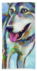 Beach Towel featuring the painting Snow Wolf by Robert Phelps
