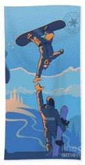 Snowboard High Five Beach Towel