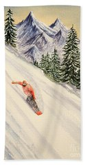 Beach Towel featuring the painting Snowboarding Free And Easy by Bill Holkham