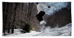 Beach Towel featuring the photograph Snowboarding Mccauley Mountain by David Patterson