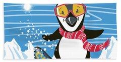 Snowboarding Penguin Beach Towel