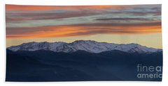 Snowcapped Miapor Range Under Golden Clouds, Armenia Beach Towel by Gurgen Bakhshetsyan