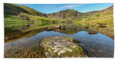 Beach Towel featuring the photograph Snowdonia Mountain Reflections by Adrian Evans