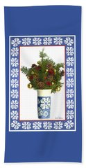 Beach Towel featuring the digital art Snowflake Vase With Christmas Regalia by Lise Winne