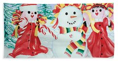 Snowgirls With Serape Scarf Beach Towel