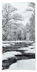 Snowing Along The Creek Beach Towel