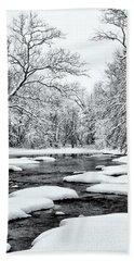 Snowing Along The Creek Beach Towel
