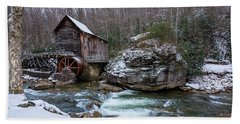 Snowing At The Mill  Beach Towel by Steve Hurt