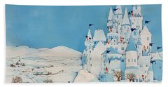 Snowman Castle Beach Towel by Christian Kaempf