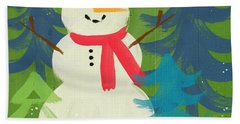 Snowman In Red Hat-art By Linda Woods Beach Towel by Linda Woods