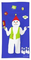 Beach Towel featuring the digital art Snowman Juggler by Barbara Moignard