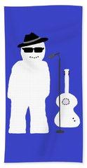 Snowman Musician Beach Sheet by Barbara Moignard