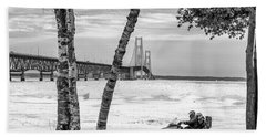 Beach Towel featuring the photograph Snowmobile Michigan Black And White  by John McGraw